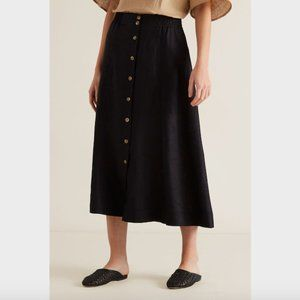SOLD Seed Heritage Black French Linen Flowing Skirt 6